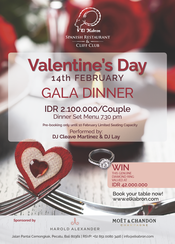 Valentine S Day Gala Dinner El Kabron Cliff Club